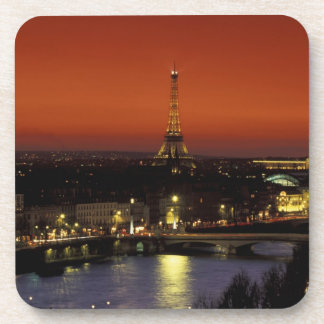 France, Paris Sunset view of Eiffel Tower and Drink Coaster
