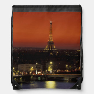 France, Paris Sunset view of Eiffel Tower and Drawstring Backpacks