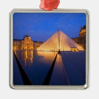 France, Paris. The Louvre museum at twilight. Silver-Colored Square Decoration