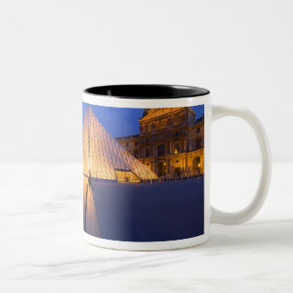 France, Paris. The Louvre museum at twilight. Two-Tone Mug