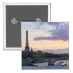 France,Paris,tour boat on River Seine,Eiffel 15 Cm Square Badge