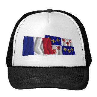 France & Picardie waving flags Cap