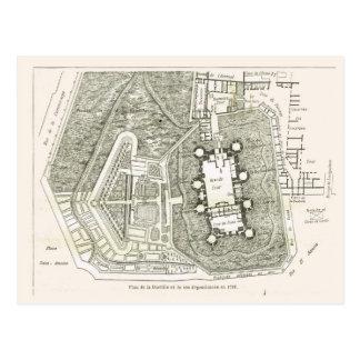 France, Plan of the Bastille in 1789 Postcard
