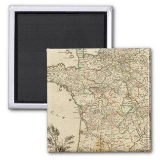 France Postal Roads Square Magnet