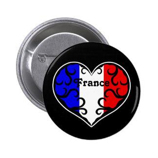 France pretty heart on black 6 cm round badge
