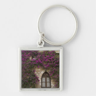 France, Provence, Eze. Bright pink Silver-Colored Square Key Ring