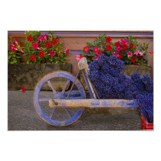 France, Provence, Sault. Old wooden cart with Poster