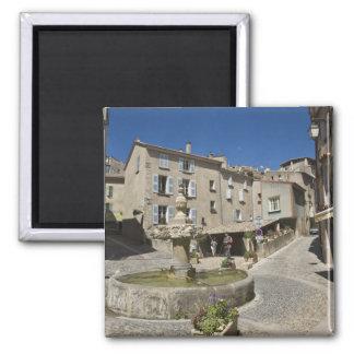 France, Provence, Valensole. Tourists explore Square Magnet