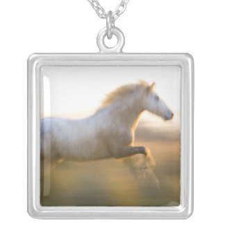 France, Provence. White Camargue horse running. Square Pendant Necklace