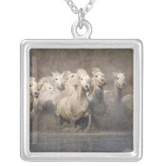 France, Provence. White Camargue horses running Square Pendant Necklace