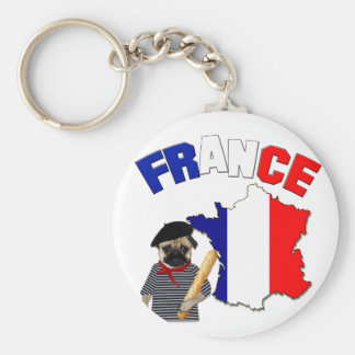 France - Pug with baguette - Keychain