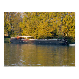 France, Rhone River, near Avignon, barge along Postcard
