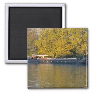 France, Rhone River, near Avignon, barge along Square Magnet