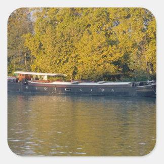 France, Rhone River, near Avignon, barge along Square Sticker