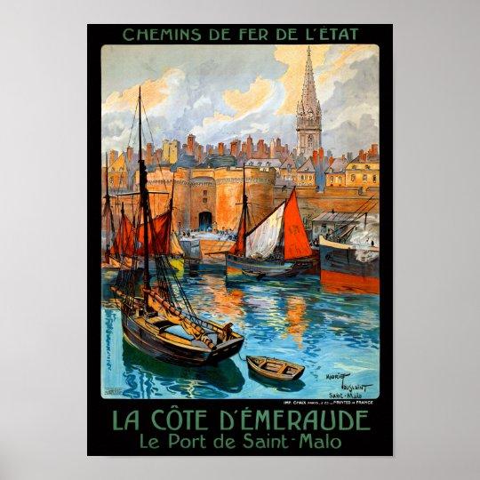 France Saint Malo Restored Vintage Travel Poster