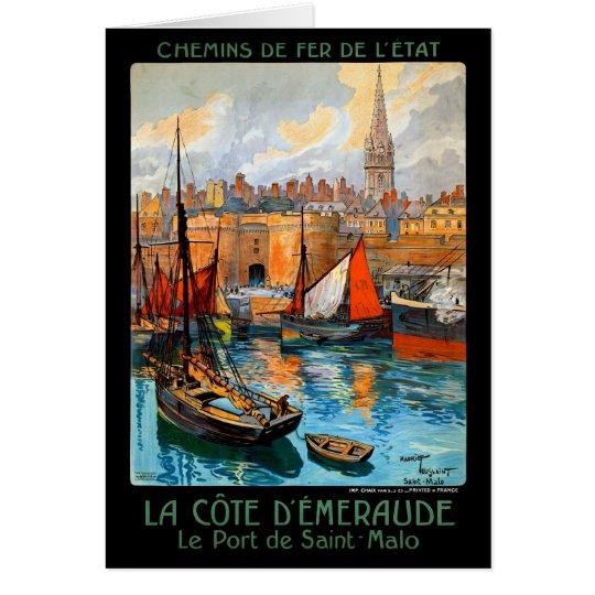 France Saint Malo Restored Vintage Travel Poster Card