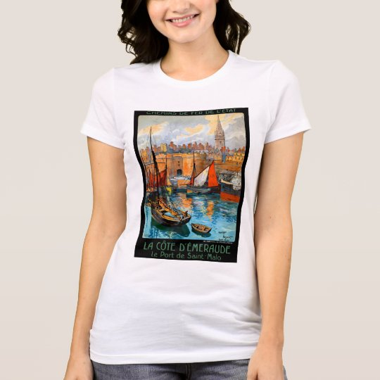 France Saint Malo Restored Vintage Travel Poster T-Shirt