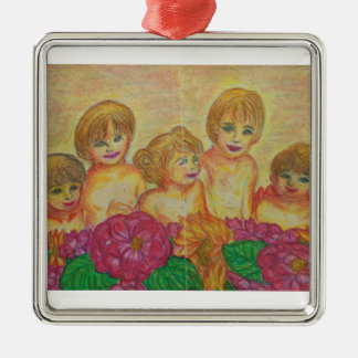 France - scenery of family - Silver-Colored square decoration