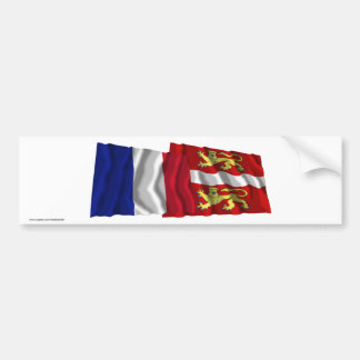 France Seine-Maritime waving flags Bumper Stickers