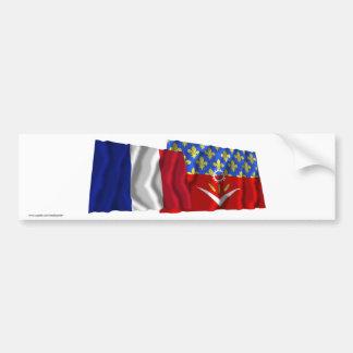 France Seine-Saint-Denis waving flags Bumper Stickers