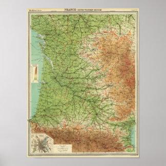 France southwestern section Bordeaux Poster
