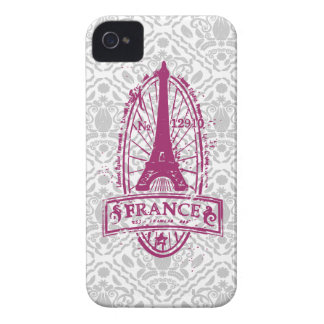 France stamp french art on gray damask iPhone 4/4s Case-Mate iPhone 4 Case