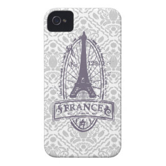 France stamp french art on gray damask iPhone 4/4s iPhone 4 Case-Mate Case
