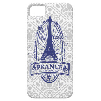 France stamp, french art on gray damask iPhone 5 Barely There iPhone 5 Case