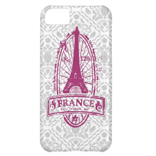 France stamp, french art on gray damask iPhone 5 iPhone 5C Case