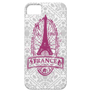 France stamp, french art on gray damask iPhone 5 Case For The iPhone 5
