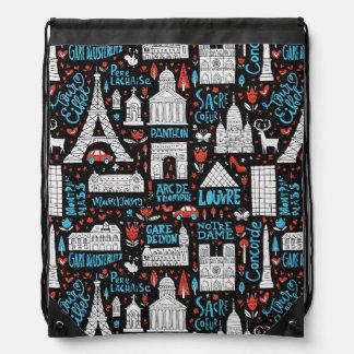 France | Symbols Pattern Drawstring Bag