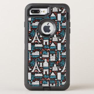 France | Symbols Pattern OtterBox Defender iPhone 8 Plus/7 Plus Case