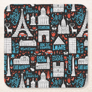 France | Symbols Pattern Square Paper Coaster