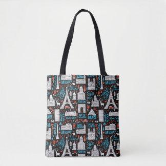 France   Symbols Pattern Tote Bag