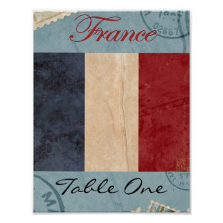 France Table Number Poster