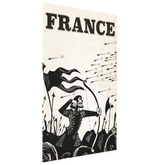 France vintage travel poster. classic medieval car canvas print