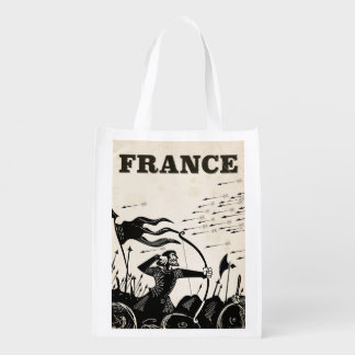 France vintage travel poster. classic medieval car reusable grocery bag