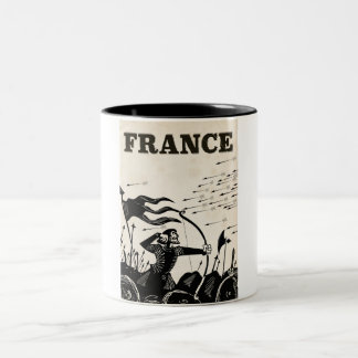 France vintage travel poster. classic medieval car Two-Tone coffee mug