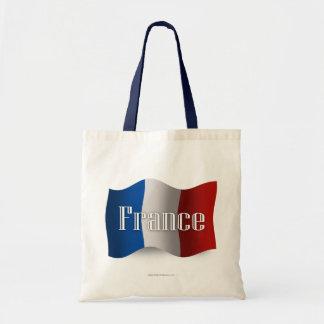 France Waving Flag Tote Bags