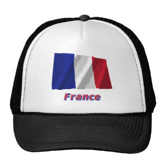 France Waving Flag with Name Trucker Hats