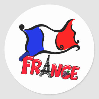 France with Flag Products Stickers