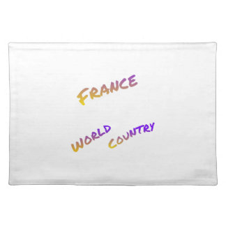 France world country, colorful text art placemat