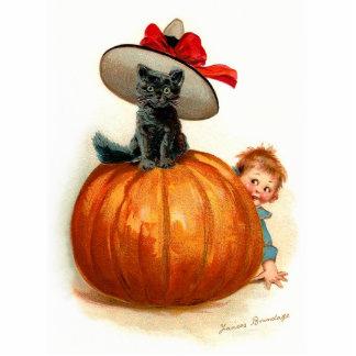 Frances Brundage: Black Cat, Pumpkin and a Boy Standing Photo Sculpture