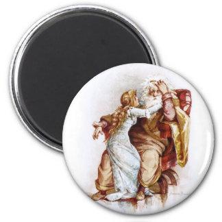 Frances Brundage: King Lear and Cordelia 6 Cm Round Magnet