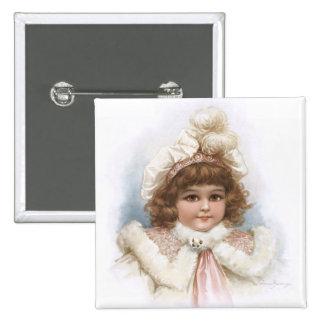 Frances Brundage - Little Girl with Fur Collar 15 Cm Square Badge