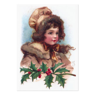Frances Brundage Winter Girl with Holly Business Card