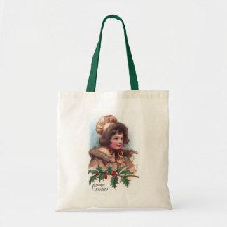 Frances Brundage: Winter Girl with Holly Budget Tote Bag