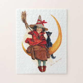 Frances Brundage: Witch on Sickle Moon Jigsaw Puzzle