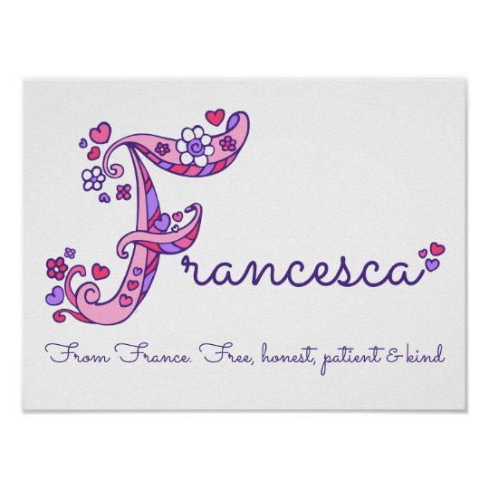 Francesca initial F doodle heart art name meaning Poster