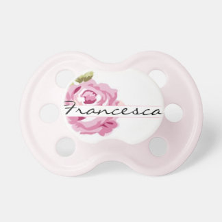 """Francesca"" Personalized Name - Shabby Chic Baby Pacifiers"